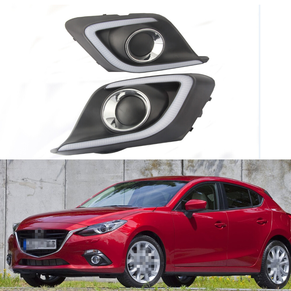 1 Set WHITE YELLOW LED Fog Lights DRL Fog Lamp Covers Daytime Running Lamps With Turning Light for Mazda 3 2014-2016 конструктор enlighten brick серия полиция спасательный центр 528 деталей