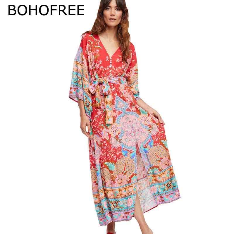 599b30ca7cf25 Detail Feedback Questions about BOHOFREE Mixed Print Wrap Midi Dress ...