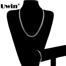 2017 Classical Hiphop Jewelry Popular Men High Quality Color Retention Cuban Chain Necklace And Bracelet Set(China)