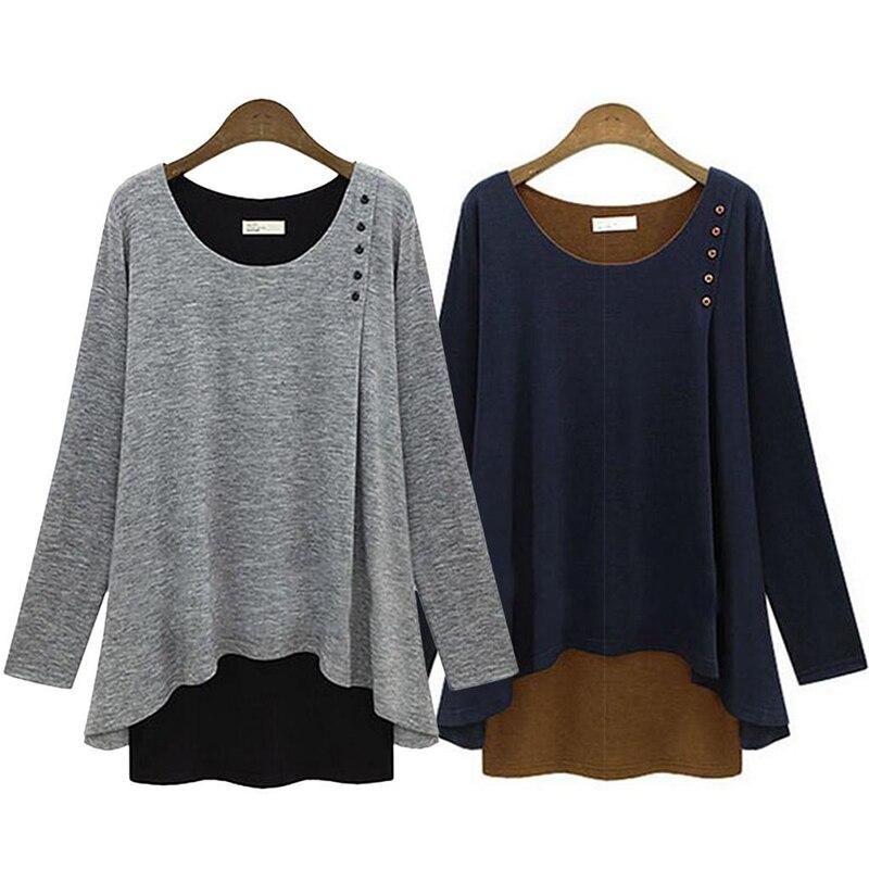Blue Size Gray Asymmetry Tunic shirt T Long Womens Navy Loose Plus New Blouse light Sleeve Hem Tops 7r7qFa6