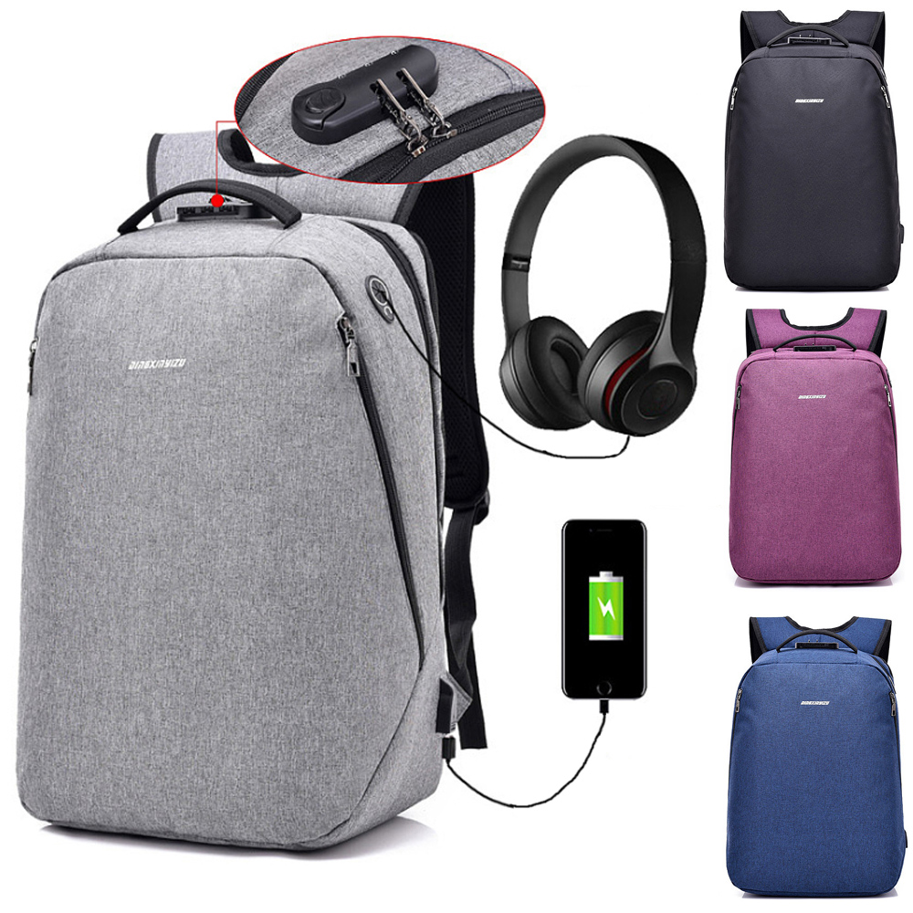15 15.6 Inch with USB Interface Anti-theft Nylon Laptop Notebook Backpack Bags Case School Backpack for Men Women Student Travel