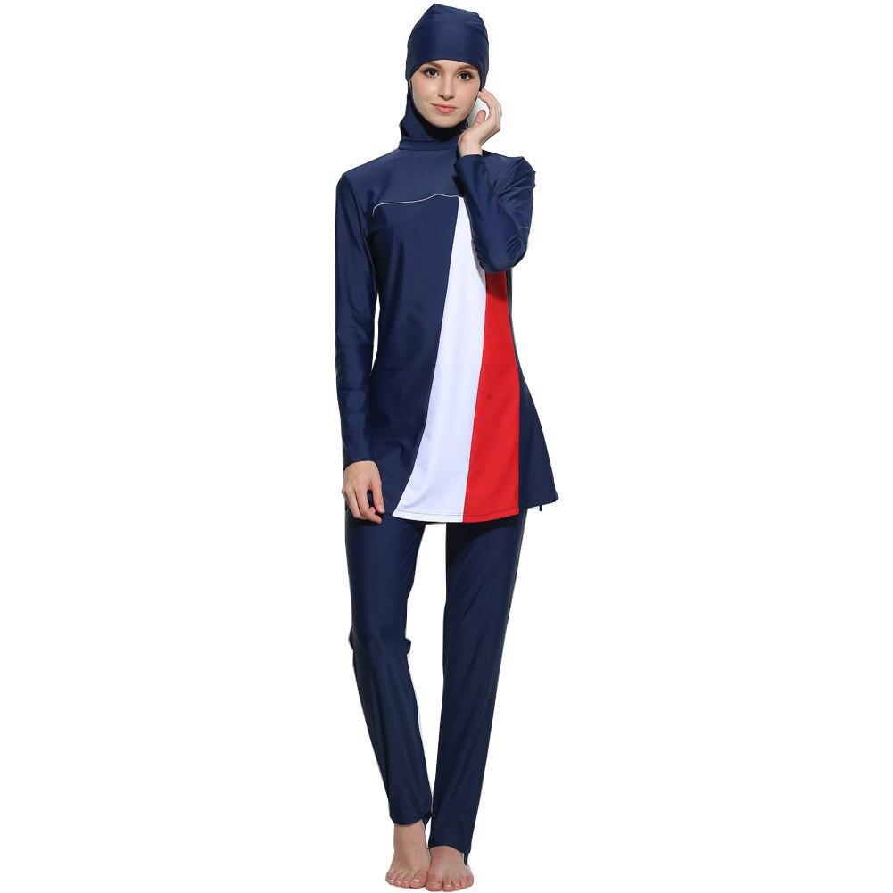 Nouveau maillot de bain musulman imprimé à rayures conservatrices pour femmes Hijab Muslimah maillot de bain islamique maillot de bain maillot de Surf Sport Burkinis 5xl 6XL