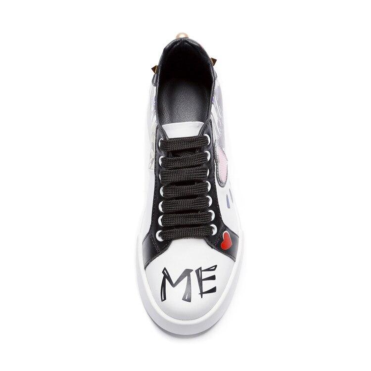 PXELENA cuir véritable Grafitti chaussures plates filles décontracté confort mode à lacets appartements femmes 2018 automne nouvelles chaussures collégiales-in Chaussures plates femme from Chaussures    3