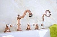 Antique Red Copper Brass Deck 5 Holes Bathtub Mixer Faucet Handheld Shower Widespread Bathroom Faucet Set Basin Water Tap atf227