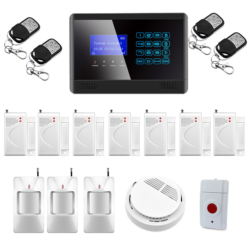 433 MHz Sensor Wireless GSM SMS TEXT  Home House Alarm System LCD Screen House Intruder Voice 850/900/1800/1900MHz wireless gsm sms text touch keypad home house alarm system emergency panic 850 900 1800 1900mhz outdoor siren fire smoke sensor