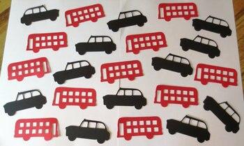 Recortes de autobús y Taxi Londres boda cumpleaños nupcial baby shower fiesta Mesa decoración scrapbooking favores