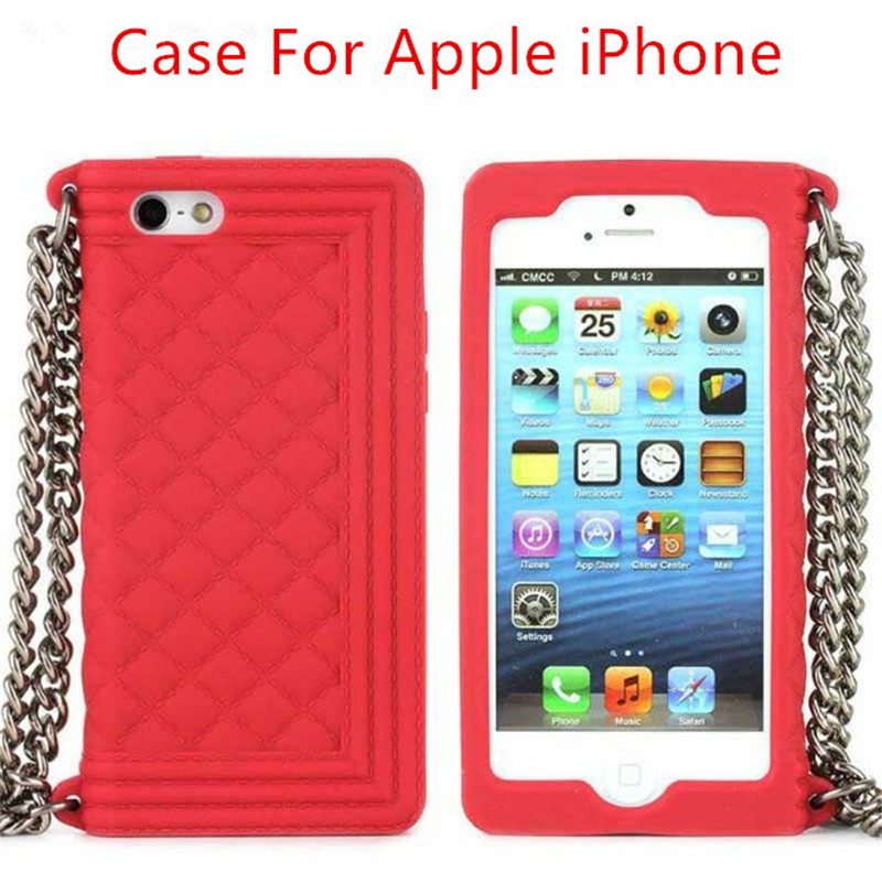 For iPhone 6S Luxury Brand Lanyards Chain Silicone Case For iPhone 5s 6 7 8 Plus Handbag Skin Cover Messenger Phone Bag