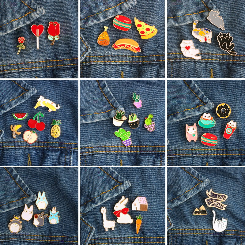 Metal Badge Brooches Hamburger Fruit Sheep-Plant Rose Cats Enamel-Pin Rabbit Cartoon