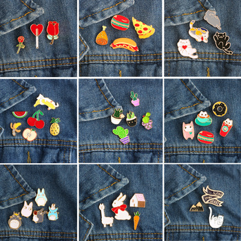 3~6 pcs/set Cartoon Cats Rabbit Sheep Plant Rose Cactus Fruit Hamburger Pizza Brooch Enamel Pin Metal Badge Brooches for Women 1