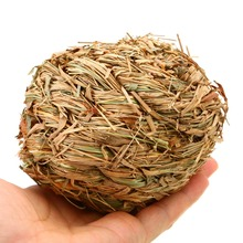 1pc 10cm Natural Grass Ball with Bell Pet Chew Toy For Rabbit Hamster Guinea Pig