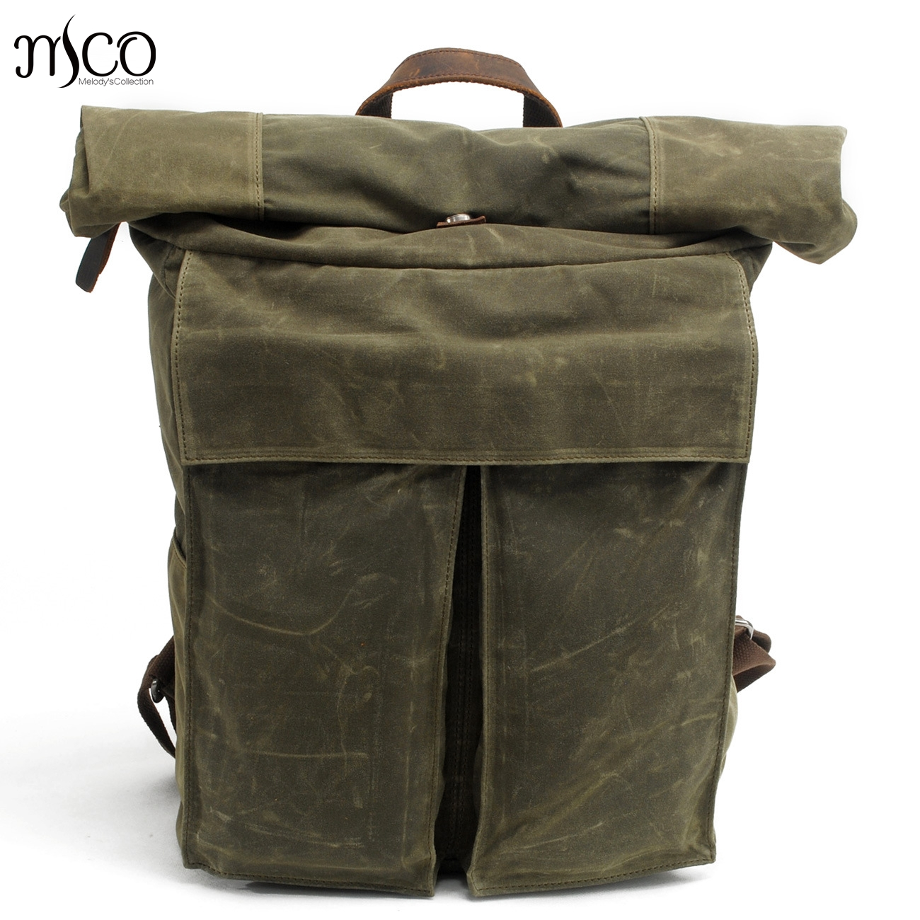 MCO 2018 Vintage Waterproof Waxed Canvas Men Travel Backpack Large Capacity  Women Weekend Bag Basic Roll Top Military Knapsack-in Backpacks from  Luggage ... e99393a0df6a8
