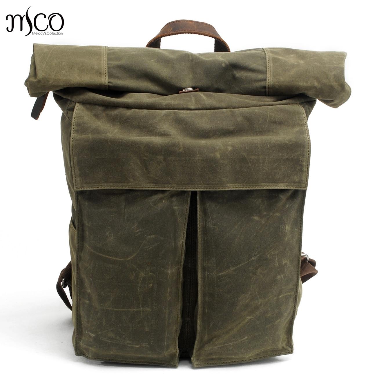 425eedc5bf MCO 2018 Vintage Waterproof Waxed Canvas Men Travel Backpack Large Capacity  Women Weekend Bag Basic Roll Top Military Knapsack-in Backpacks from Luggage  ...