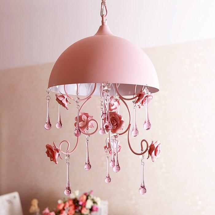pink countryside pastoral style Semi circular pendant lights ceramic rose bedroom stairs princess bedroom pendant lamps FG468