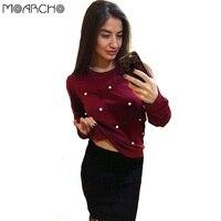 MOARCHO Sweatshirts Women Fashion Elegant Pearls Beading Coat 2017 Casual Autumn Winter Outfit Long Sleeve O