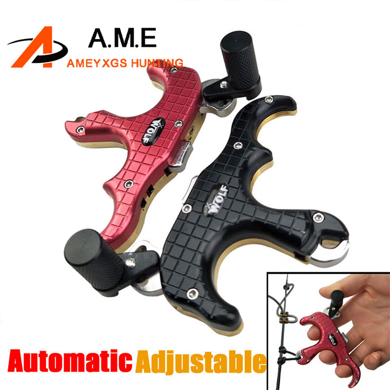 AMEYXGS 3 Color 3 Finger WOLF Grip Caliper Release Aid Stainless Steel Release for Compound Bow Hunting/Shooting Archery Bow 1x elong outdoor black color archery caliper release aid compound bow strap shooting pro arrow trigger wristband free shipping