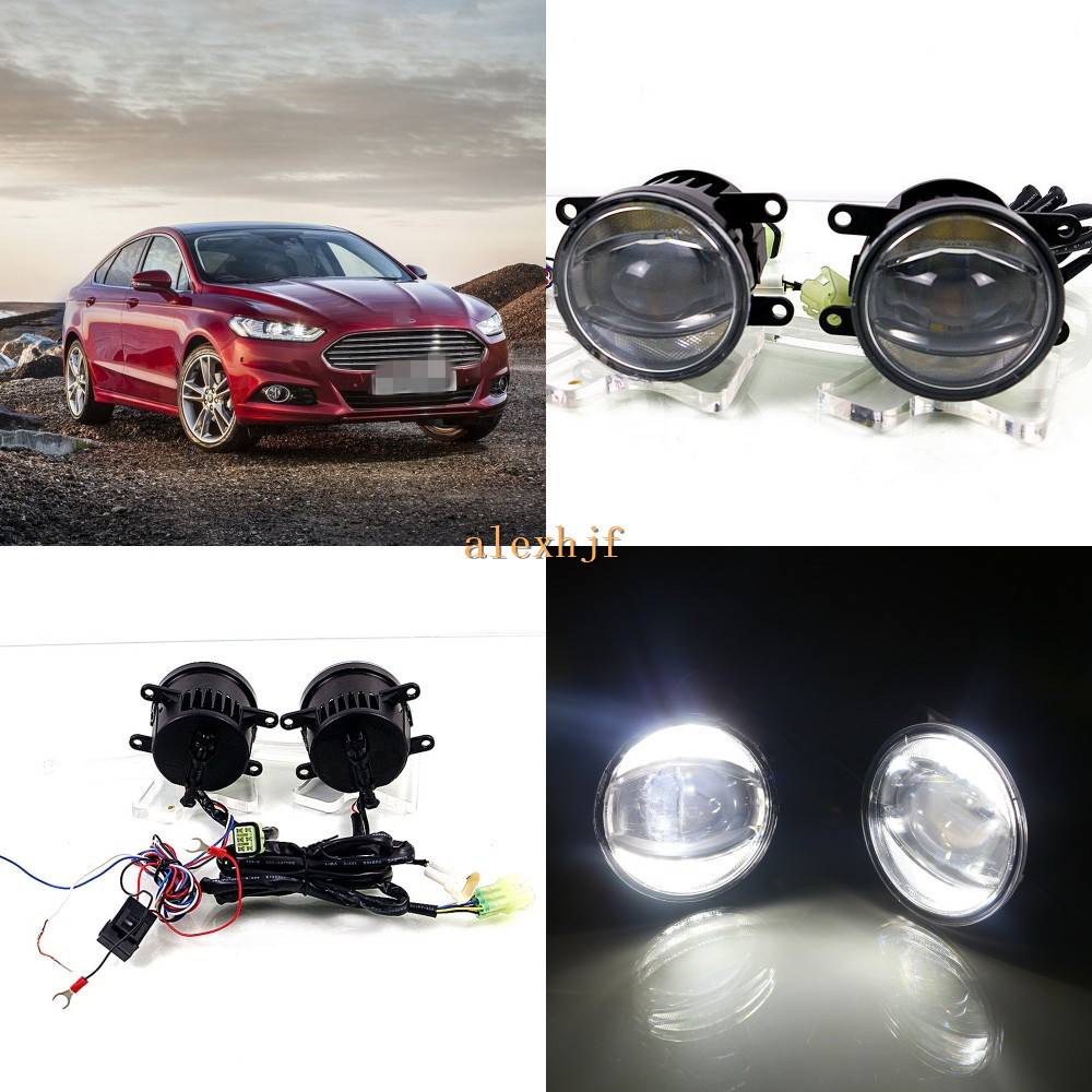 July King 1600LM 24W 6000K LED Light Guide Q5 Lens Fog Lamp +1000LM 14W Day Running Lights DRL Case for Ford Mondeo Fusion 13-16 for opel astra h gtc 2005 15 h11 wiring harness sockets wire connector switch 2 fog lights drl front bumper 5d lens led lamp