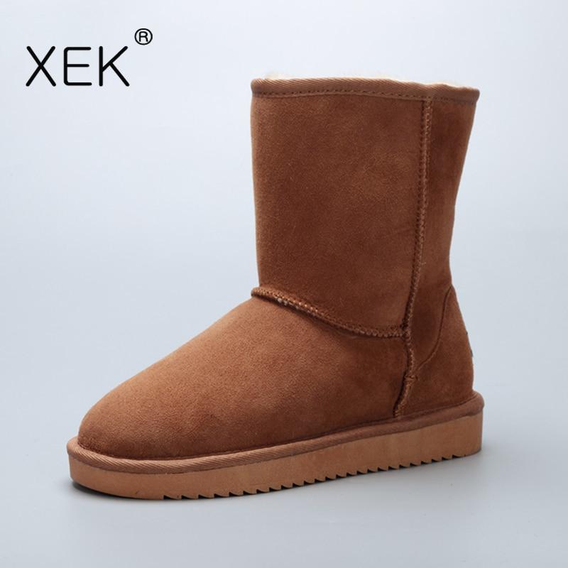 2017 XEK Women's Sheepskin Snow Boots Natural Fur Warm mid Australia Boots Genuine leather Shoes Winter Brand Classic boots