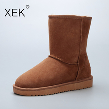 2017 XEK Women's Sheepskin Snow Boots Natural Fur Warm mid Australia Boots Genuine leather Shoes Winter Brand Classic boots