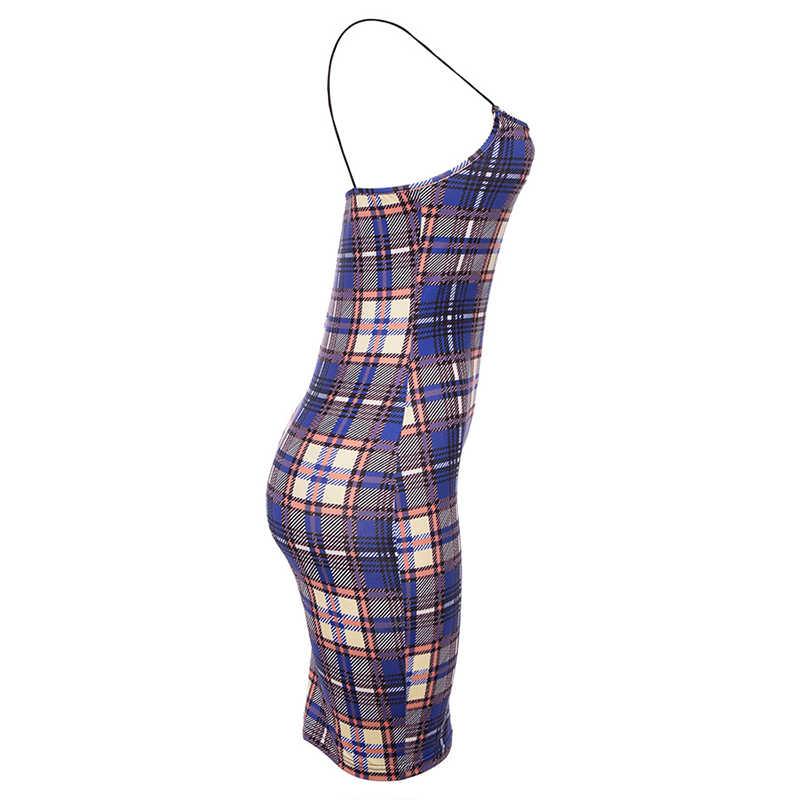 Сексуальное мини платье на бретельках женское клетчатое облегающее платье с высокой талией на тонких бретельках пляжное вечернее платье женское 2019 летнее платье