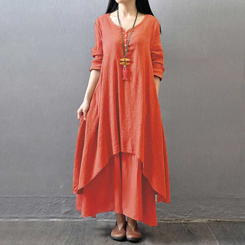 b6e5c8b98d6 ... EaseHut Cotton Women Maxi Dress 2019 Spring Autumn False 2-piece Long  Sleeve V Neck