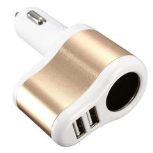 купить 3 Color Brand New 12V 1A 2.1A Universal 2 Ports Dual USB One Way Car Cigarette Lighter Power Socket Charger Adapter дешево
