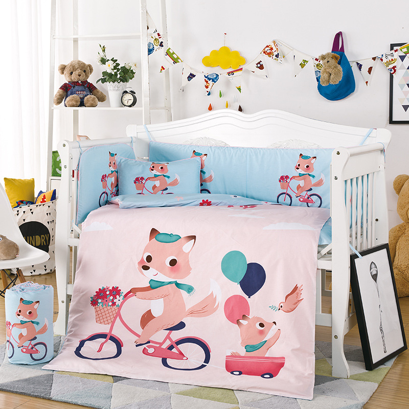 10PCS/set Cartoon Cotton Bedding Sets Newborn Baby Crib Bedding Set Include Bumper Quilt Mattress Pillow 120x65cm цены