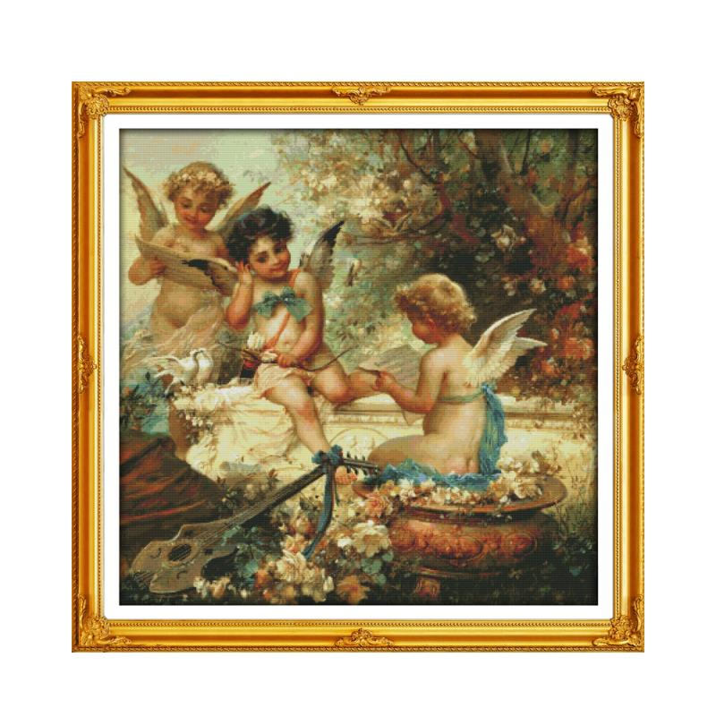 Three Little Angels In The Garden Cute Boys Handmade Chinese Embroidery Cross-stitch Sewing DIY Decorative Painting