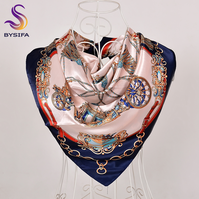[BYSIFA] Women Navy Blue Silk   Scarf   Shawl Winter New Plaisley Square   Scarves     Wraps   90*90cm Spring Autumn Muslim Head   Scarf   Cape