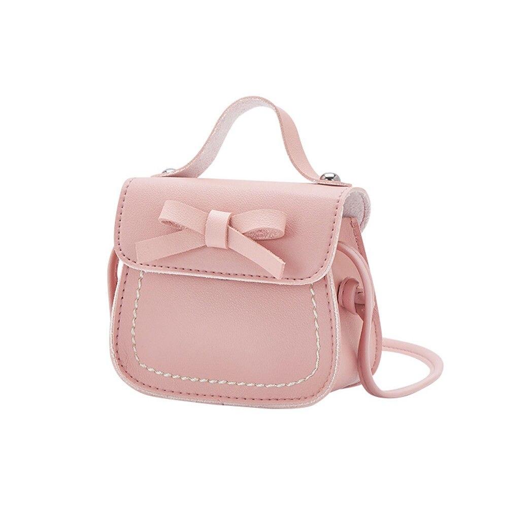 Новинка, брендовые сумки-мессенджеры для малышей, сумки на плечо для девочек, сумки на плечо для принцесс, однотонные кошельки с бантиком для принцесс - Цвет: Light pink