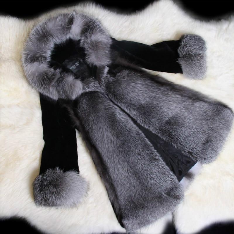 New Faux Fur Coat Luxury Fuffly Fox Fur Overcoat Women