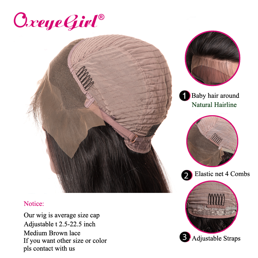 Oxeyegirl Brazilian Straight Lace Front Wig With Bangs Wigs For Black Women Lace Front Human Hair Wigs With Bangs Remy Hair Wig