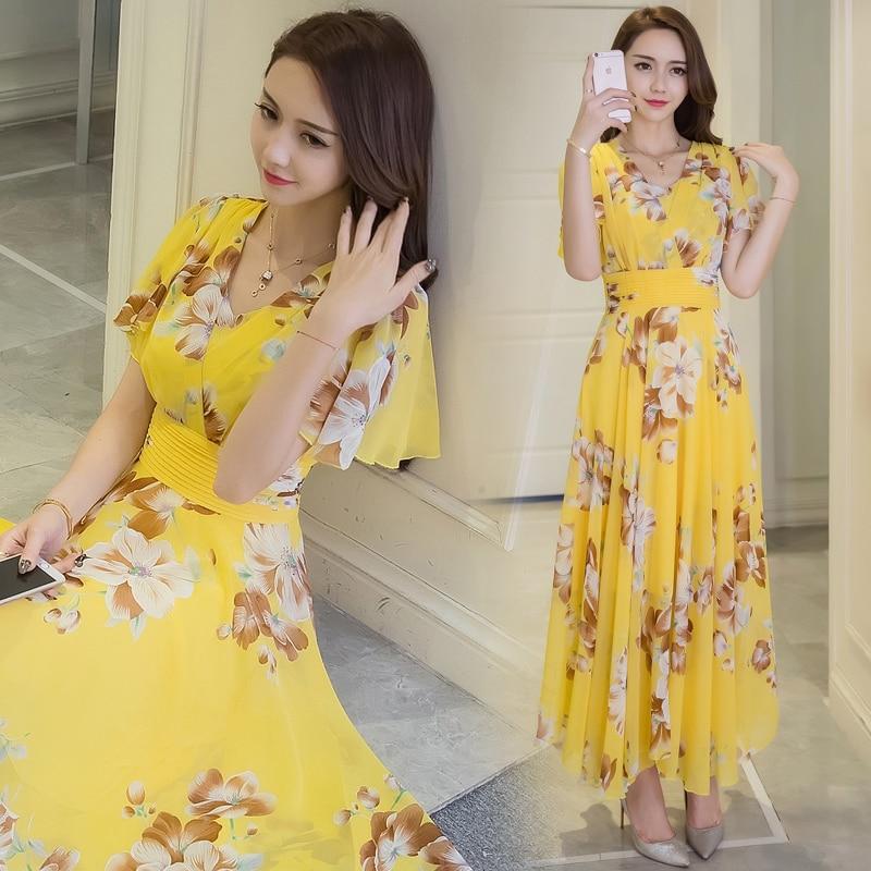 a50e141338f S 5XL vestidos verano 2018 yellow v neck summer dress large size long women  dress chiffon beach holiday fairy plus size dress-in Dresses from Women s  ...