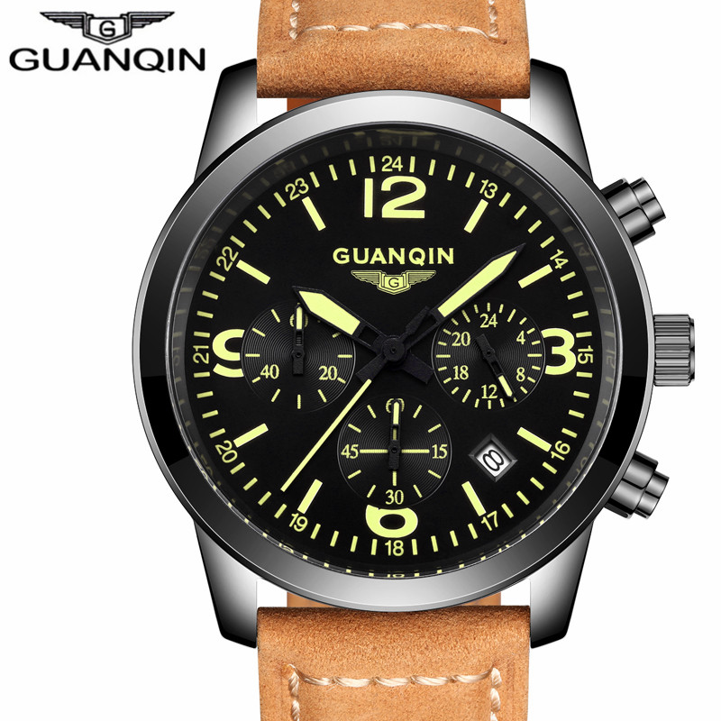2018 GUANQIN Casual Watches Men Brand Luxury Men's Quartz Watch Waterproof Sport Military Watches Men Leather relogio masculino