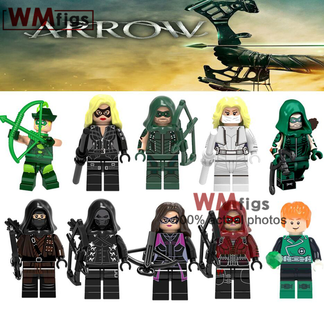Single Green Arrow DC Comics Super Heroes Prometheus Dark Archer Superman Cyborg Batman Lantern Building Blocks Toys Kids Gifts