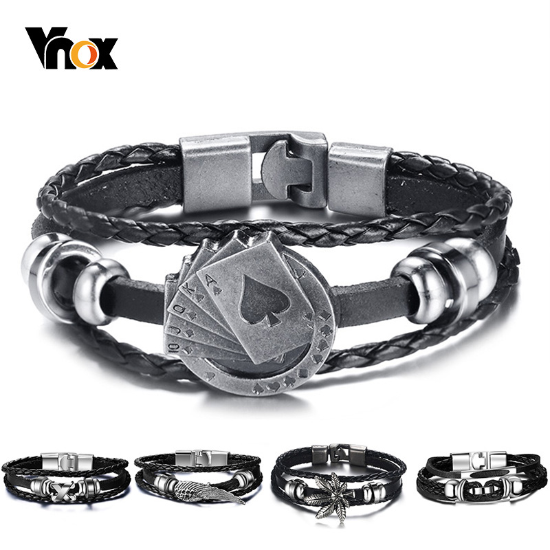 Vnox Lucky Vintage Men's Leather Bracelet Playing Cards Raja Vegas Charm Multilayer Braided Women Pulseira Masculina 7.87″