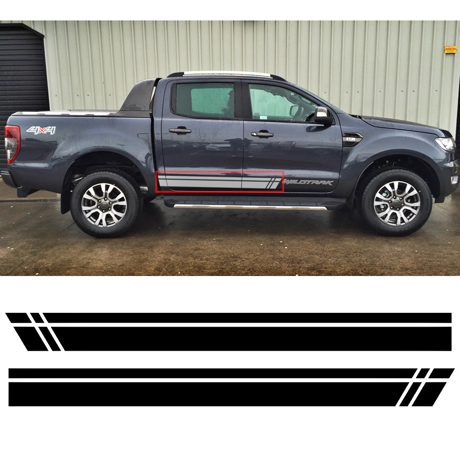 custom for Ford rangers stickers 2PC car side door wild track stripes graphic Vinyls modified accessories racing personal decals in Car Stickers from Automobiles Motorcycles