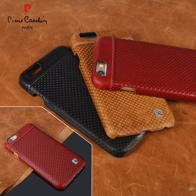 11499941f4 For iPhone 6 6s PLus 7 7Plus Phone cases Pierre Cardin Genuine Leather Hard Back  Case Cover 3 Color Free Shipping