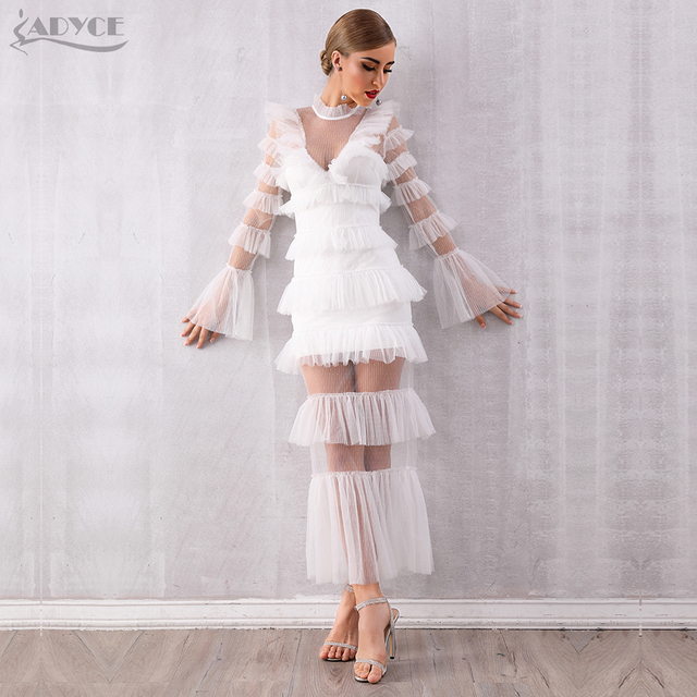 Adyce 2019 New Autumn Maxi White Fashion Women Dress Luxury Lace Ruffle Club Dress Vestidos Sexy Long Sleeve Evening Party Dress