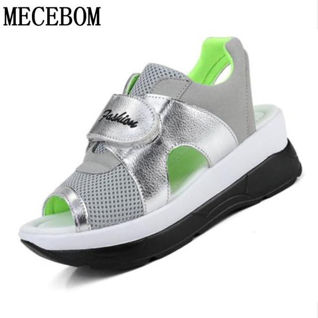 2018 Fashion Summer Women s Sandals Casual Mesh Breathable Shoes Woman  Comfortable Wedges Lace Platform Sandalias 8090W 2d1a043816c7