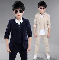 5 12 Years Children's Leisure Clothing Sets Boys Children Big Boys Suit Gentleman Spring Clothes Coat+Pants+vest 3pcs Sets