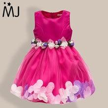 New Fashion Sequin Flower Dress Party Birthday Wedding Princess Toddler Baby Girls Clothes Children Kids Lycra Dresses