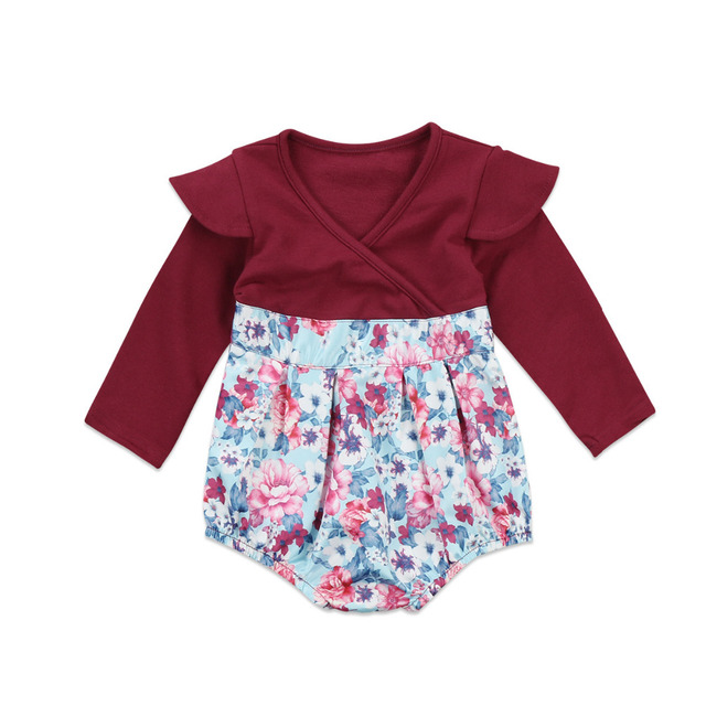 1907a446bd05 Pudcoco Newborn Infant Baby Girls Floral Romper Long Sleeve V Neck ...