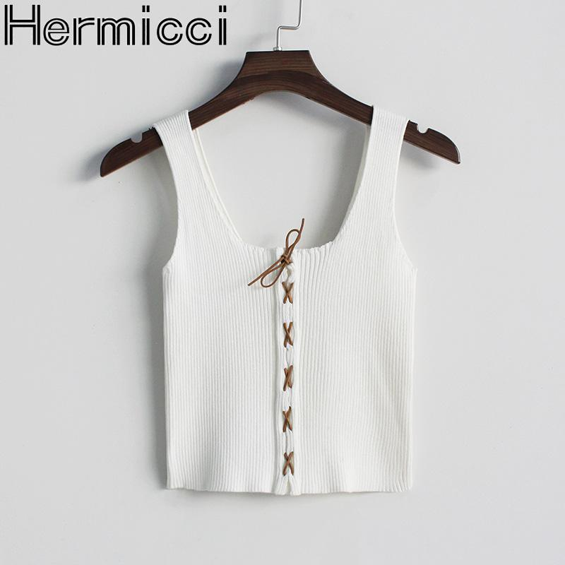 Hermicci 2018 New Summer Knitted Tank Tops Women Tie-up Camisole Vest Slim Sexy Bustier Blusa Cropped Top Short Camis Spaghetti