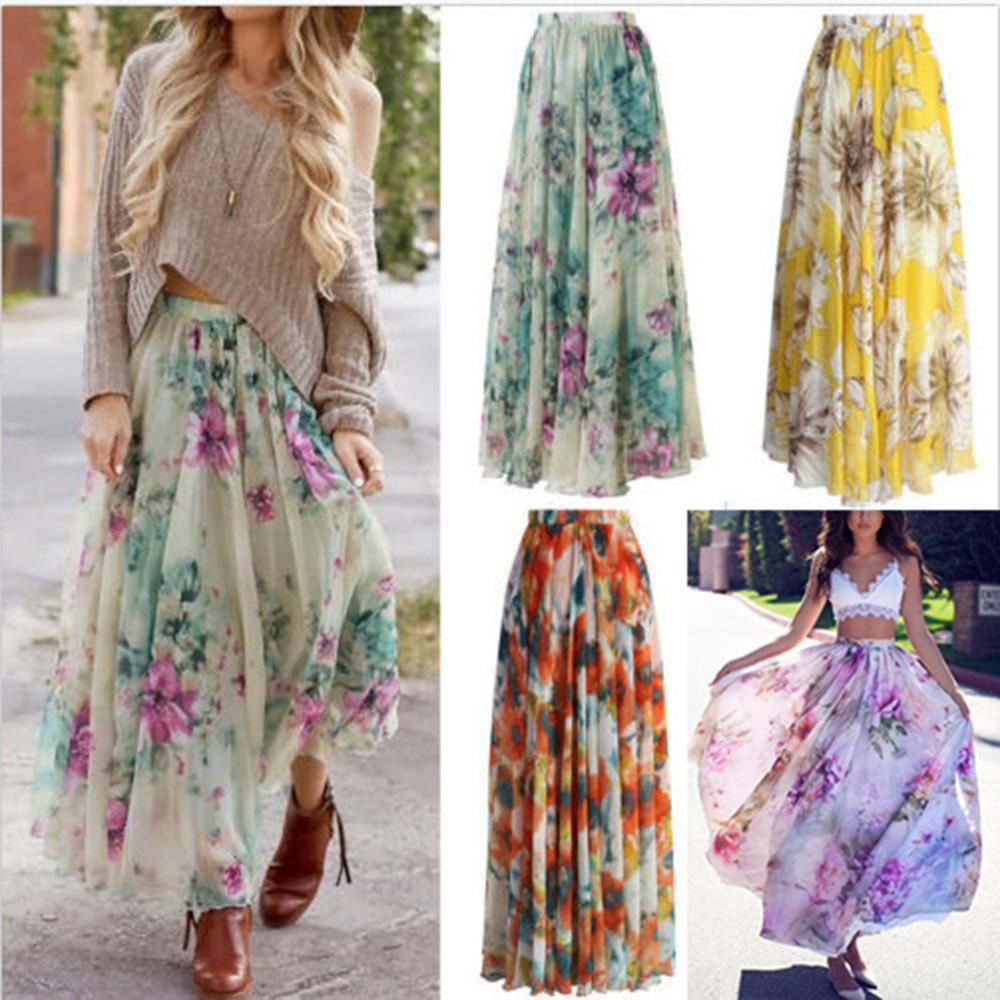 KLV Women Chiffon Floral High Waist Maxi Dress Skater Flared Pleated Long Skirt Female Elegant Bohemia Chiffon Print Skirts