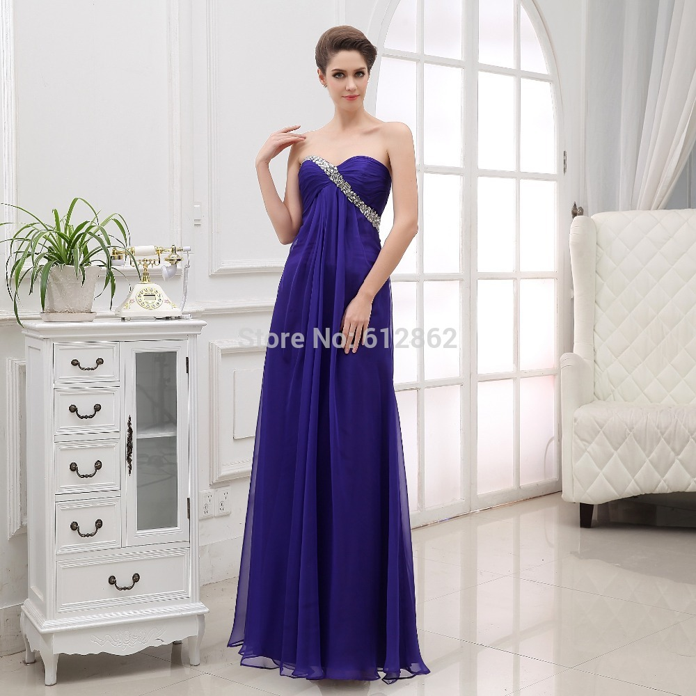 Robe Soiree Longue Femme Strapless Low Back Royal Blue Beaded ...