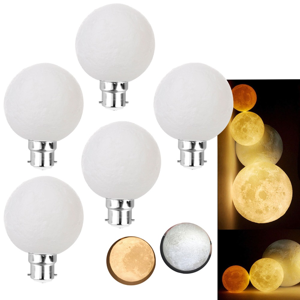 3D Printed LED Moon Light B22 Bayonet 3W Lamp Creative Night light Decor Birthday Moonlights Warm Cool White Lighting Bulbs