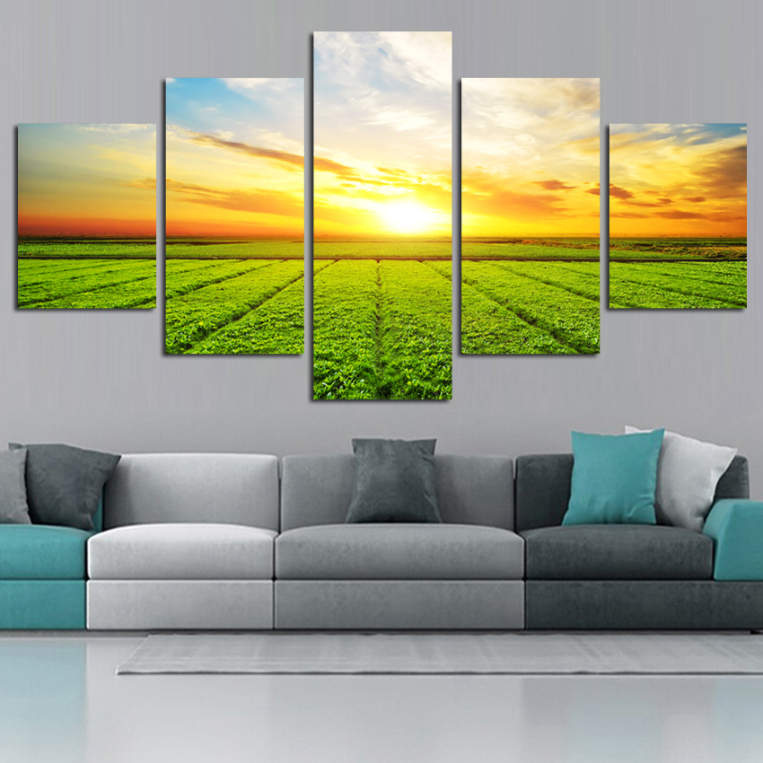 New Canvas Painting Field 5 piece canvas Picture Print On Wall For Living Room bedroom Restuarant FA471