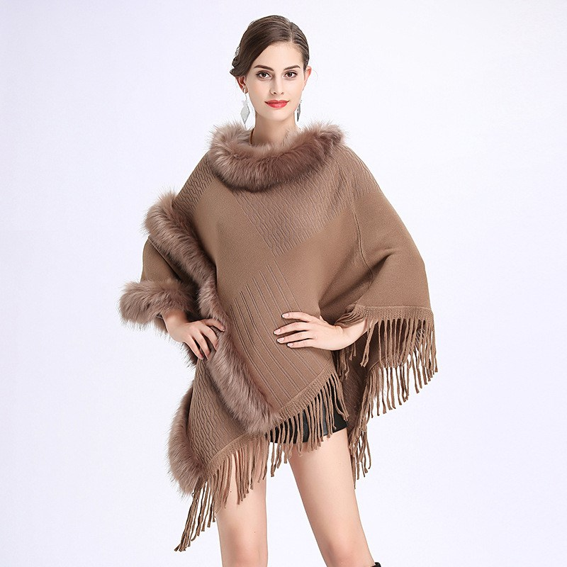 100% QualitäT Frauen Faux Pelz Fledermaus Ärmel Ponchos Pullover Capes Oansatz Stricken Pullover Frauen Quaste Pullover Faux Pelzmantel