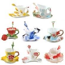 3D Neue Farbige Emaille Kaffeetasse Tasse Porzellan Tee Milch Drinkware Set Kreative Keramik Europäischen Porzellanschale Freund Geschenk