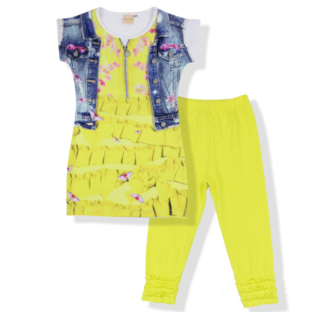 2016 fashion summer brand  children clothing girls outfits 2pcs sets short sleeve 3d print shirts ruffle pant suits